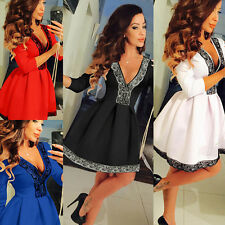 Women Lace Splice V-Neck Skirt Dress Ladies Evening Party Mini Skater Dress