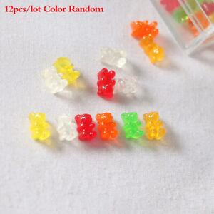 12Pcs Dollhouse Miniature Resin Colorful Bear Candy Model Ornaments DIY Cr SM