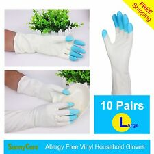 "10Pairs SunnyCare Heavy Duty Household Cleaning Vinyl Gloves 13"" L (Latex Free)"
