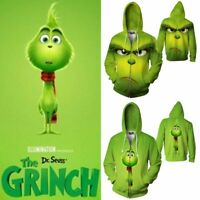 3D Print Hot Grinch Full Face Men Women Sweater Hoodie Sweatshirt Zipper Jacket