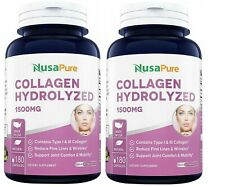 SET OF TWO NusaPure Collagen Hydrolyzed 1500mg 180caps - BUY ONE, GET ONE FREE!