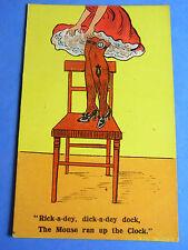Comic Postcard 1900s Silk Stockings - THIGH GARTER WATCH - Clock Pocket Theme