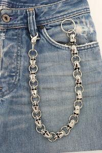 New Men Silver Key Wallet Chain Ring Skeleton Skull Charm Rock Motorcycle Biker