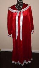 Vintage VANDEMERE ROBE  Red Velvet  Zip Down  Lace Collar & Cuffs  Size Small