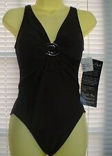 NWT MIRACLESUIT SWIMSUIT--  1 PIECE-SZ 8--BROWN-TANK STYLE- SLIMMING