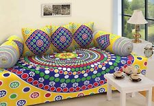 Rajasthanikart Traditional 6 Piece Diwan Set - 100% Cotton - Yellow(Ethnic Look)