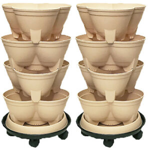 Stacking Planters, Vertical Gardens 4 layered with bonus Trolleys in a Twin Pack
