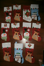Lot of 11 Festive Christmas Stockings Cut Out Designs Reindeers Snowmen Penguin