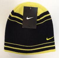 Nike Swoosh Black & Yellow Knit Beanie Skull Cap Youth Boy's 8-20 NWT