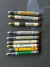 Lot of 9 Vintage Bullet Pencils RELIGIOUS BULLET PENCILS - Bible Verses Prayers