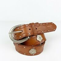 Tan Brown Genuine Leather Studded Belt M Floral Embossed Southwestern Concho