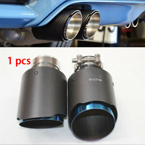 Car 63mm Carbon Fiber  Exhaust Pipe Tail Muffler Tip Rear Round Stainless Stee