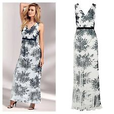 Kaleidoscope Size 14 16 Simply Ivory Floral Print Pleated MAXI DRESS Party £105