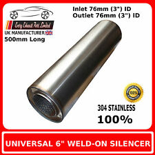 """6"""" x 20"""" Weld On Stainless Steel Silencer Exhaust Box Body, 3"""""""" (76mm) Bore"""