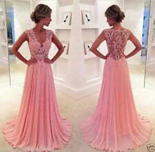 Appliques Long Chiffon Pageant Evening Dress Lace Formal Prom Party Gowns