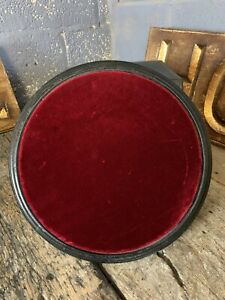 Antique 19th Century Red Velvet Ebonised Black Wooden Dome Base Display Stand XL