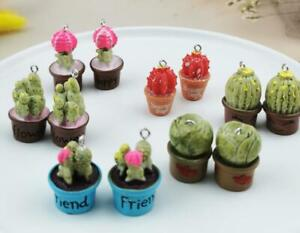 60pcs 3D Resin potted cactus Metal Charms DIY necklace Jewelry Making Pendant