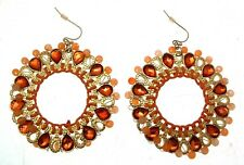 Beaded Earrings Statement Earrings Hoop Earrings Orange Earrings Fashion Earring
