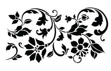 Flourish Flowers Leaves Stencil Card Craft Quilting Airbrush Tattoo Free Post