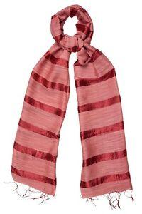 Spicy Red Scarf Silk and Linen Stripe - Fair Trade BNWT 180cm x 80cm