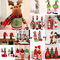 Christmas Red Wine Bottle Cover Clothes Candy Bag Xmas Santa Reindeer Home Decor