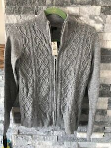 Women's TALBOTS NWT Full Zip Front Cable Knit Cardigan-Gray-Size Petite Small-PS