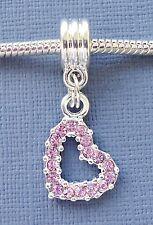Dangle Pendant Pink Crystal HEART Charm Bead Fits European Bracelets C87