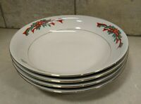 Poinsettia And Ribbons Fine China Dinnerware Tableware Soup Bowls Set of 4