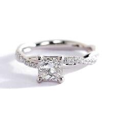 0,50CT SI2 H Corte Princesa Retorcido Pata Diamante Pavé Anillo de Compromiso