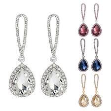 Pierced Fashionable Crystal Tear Drop Sparkling Diamante Dangle Earrings A340