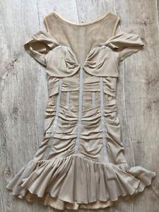 AUTH Dolce&Gabbana corset beige mesh silk dress 44