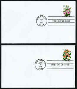 USA, SCOTT # 3836-3837, SET OF TWO FDC COVERS FLOWERS WHITE LILACS & PINK ROSES