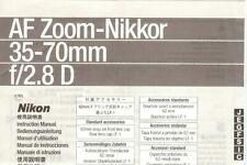 Instruction User's Manual Nikon AF Zoom-Nikkor 35-70mm f/2.8 D Multilingual
