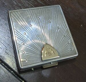 Vintage Cartier 14kt and Sterling Silver Makeup Compact Mirror