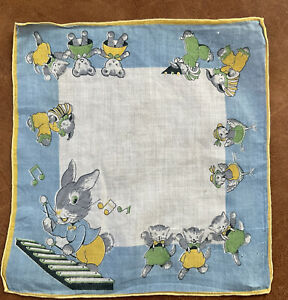 Vintage Bunny Playing Xylophone Kittens, Ducklings Child Hanky Hankie