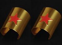 2PCS Wonder Woman Cosplay Costume Metal Cuffs Bracelet Bangle Wristband Prop