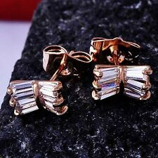 Lovely 9K Rose Gold Filled crystal Crystal Womens Bow-Knot Stud Earring