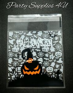 Scary Pumpkin cello bags 10pk Cookies/party/gift/sweets/candy/Halloween/trick