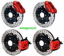 "WILWOOD DISC BRAKE KIT,HONDA CIVIC,CRX,240mm,11"" DRILLED ROTORS,RED CALIPERS"