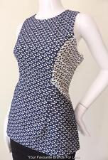 SABA Sleeveless Blue and White Top Size 12 US 8