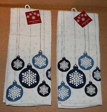 "Christmas Kitchen Towels 2ea 16.5"" x 26"" Cotton 100% ShopKo Ornaments 89M"