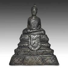 ANTIQUE SEATED BUDDHA CLAY SILVER BURMA LAOS THAILAND S.E. ASIA BUDDHISM 19TH C.