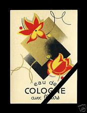 Vintage Label French Perfume Art Deco Cologne Aux Fleurs Antique Paris France