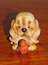 "Vintage Puppy Toes FIGURINE Enesco 1984 - 2 3/4""x3"" Ceramic Dog with Bird"