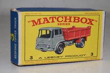 """MATCHBOX LESNEY #3 BEDFORD TIPPER DUMP TRUCK """"TYPE E"""" EMPTY BOX, ORIGINAL"""
