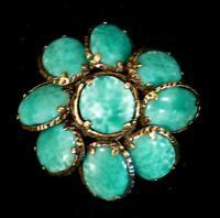 Vintage CROWN TRIFARI Renaissance Jade Green Gripoix Style Glass Pendant/Brooch