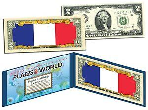 FRANCE - FLAG SERIES $2 U.S. Bill - Genuine Legal Tender Bank Note
