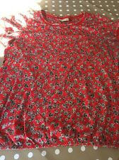 NEXT women's Summer Cotton Loose Fit Top Size 16. Bright Red, Black Flowers