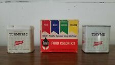 Lot Of 3 Vintage Kitchen Spice Tins Tones Food Color and French's