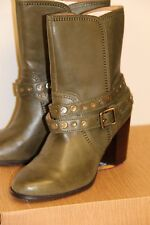 NIB Fossil DIDI Belted Bootie Ankle Boots Shoes Sz 7.5 M Olive Leather Heel